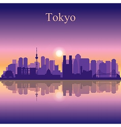 Tokyo silhouette on sunset background vector