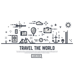 travel world linear vector image