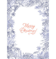 vertical christmas postcard template decorated by vector image