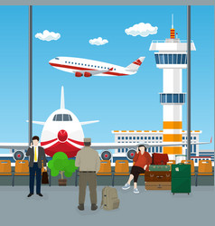 Waiting room at airport with passengers vector