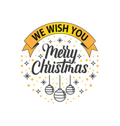 we wish you merry christmas white gold vector image