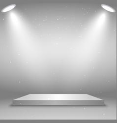 White square podium platform illuminated vector