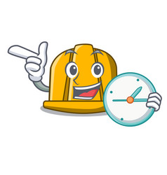 With clock construction helmet character cartoon vector