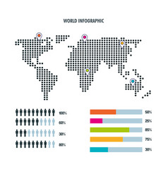 World map infographic bar statistics demographic vector