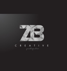 Zb z b letter logo with zebra lines texture vector