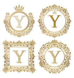 golden letter y vintage monograms set heraldic vector image vector image