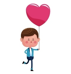 happy boy with pink heart balloon vector image