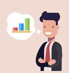 happy businessman or manager and bar chart in vector image vector image