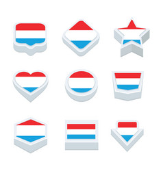 luxembourg flags icons and button set nine styles vector image vector image