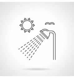 Outdoor shower flat line icon vector image vector image