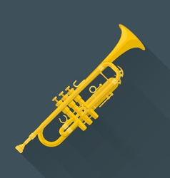 color flat style trumpet vector image vector image