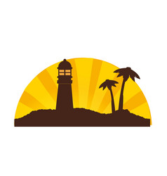 color silhouette of sunset on island with vector image