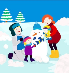 Family in winter vector image vector image