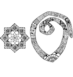 letter O decorated in the style of mehndi vector image vector image