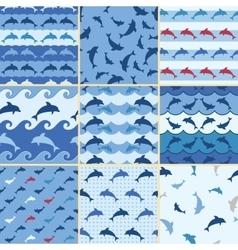 sea dolphin pattern vector image vector image