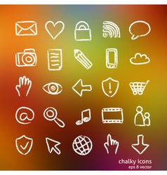 social media icon set doodles vector image