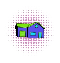 Cottage with a garage icon comics style vector image vector image
