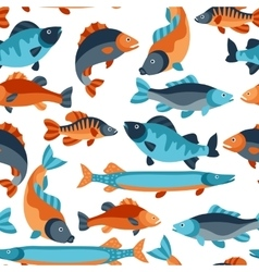Seamless pattern with various fish Background vector image