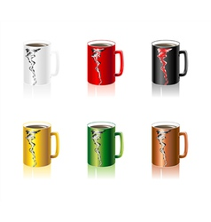Set colorful Cups with abstract smoke vector image vector image
