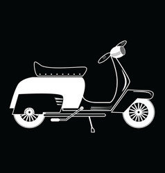 Vintage scooter type 1 in black and white on black vector image vector image