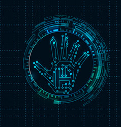 abstract hand with scan electronic technology vector image vector image