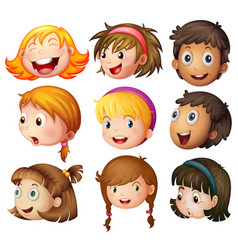 faces of boys and girls on white background vector image vector image