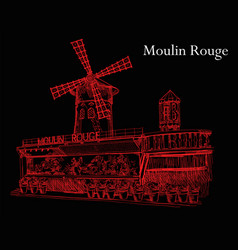 moulin rouge in red colors on black background vector image vector image