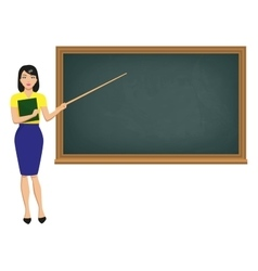 teacher with pointer standing blackboard vector image