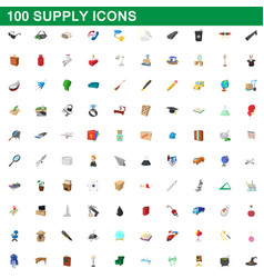 100 supply icons set cartoon style vector