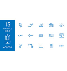 15 access icons vector image