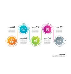 5 circle timeline infographic template business vector