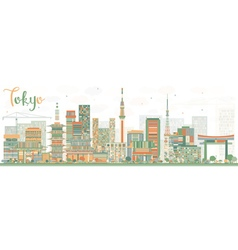Abstract tokyo skyline with color buildings vector