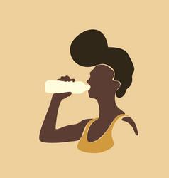 afro black skin girl drinking water from bottle vector image