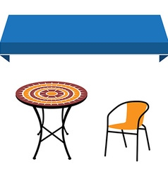Awning table and chair vector