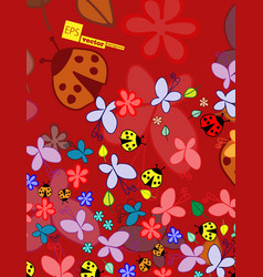 Background spring or summer with clouds ladybug vector