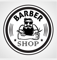Barber shop round label badge or emblem vector