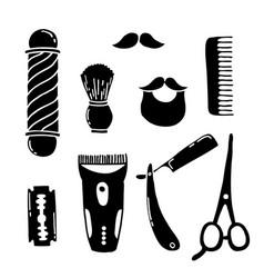 Barbershop doodle icons vector