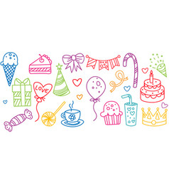 Birthday elements set hand drawn party symbols vector