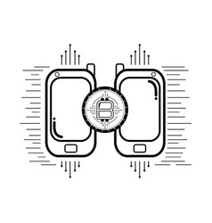 bitcoin and cellphones black and white vector image