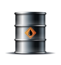 black metal oil barrel with black oil drop vector image