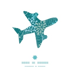 Blue and gray plants airplane silhouette pattern vector