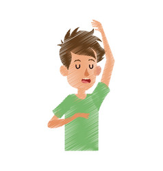 Boy with closed eyes icon image vector