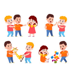 bully child cartoon bad kid fight and mock crying vector image