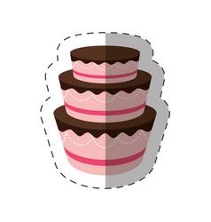 cake dessert delicious sweet shadow vector image