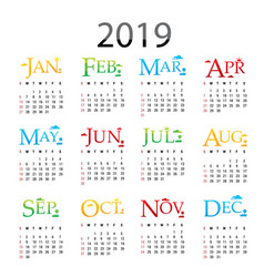 calendar planner happy new year 2019 vector image