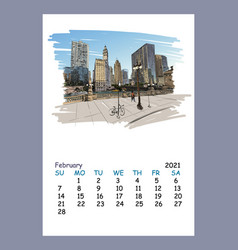Calendar sheet february month 2021 year chicago vector
