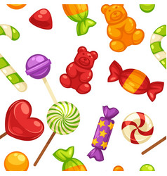 Candy and caramel sweets seamless pattern vector