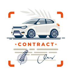 Car contract deal signed vector
