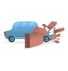 Car wall accident icon cartoon style vector