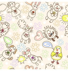 child drawing seamless pattern vector image